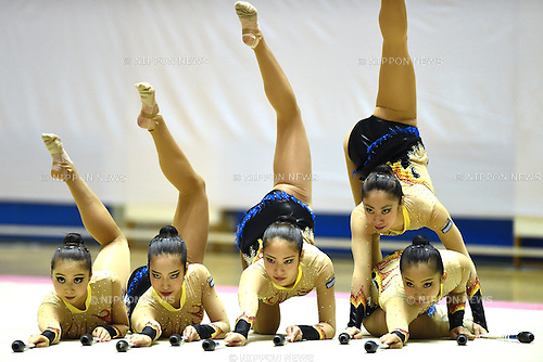 Japan Women's College of Physical Education Team Group, <br /> NOVEMBER 16, 2014 - Rhythmic Gymnastics : 67th All Japan Rhythmic Gymnastics Championships, Team at Yoyogi 1st Gymnasium in Tokyo, Japan. <br /> (Photo by AFLO SPORT) [1220]