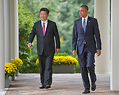 United States President Barack Obama, right, and President XI Jinping of China, left, walk on the Colonnade before conducting a joint press conference in the Rose Garden of the White House in Washington, DC on Friday, September 25, 2015.<br /> Credit: Ron Sachs / CNP