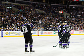 Team Los Angeles Kings celebrate goal during ice-hockey match between Los Angeles Kings and Colorado Avalanche in NHL league, Februar 26, 2011 at Staples Center, Los Angeles, USA. (Photo By Matic Klansek Velej / Sportida.com)