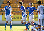 St Johnstone v Bradford City&hellip;19.07.16  McDiarmid Park, Perth. Pre-season Friendly<br />Brad McKay celebrates his goal with Graham Cummins and Chris Kane<br />Picture by Graeme Hart.<br />Copyright Perthshire Picture Agency<br />Tel: 01738 623350  Mobile: 07990 594431