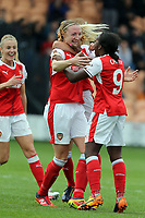 Louise Quinn of Arsenal Ladies is congratulated after scoring the fourth goal during Arsenal Ladies vs Birmingham City Ladies, FA Women's Super League FA WSL1 Football at the Hive Stadium on 20th May 2017