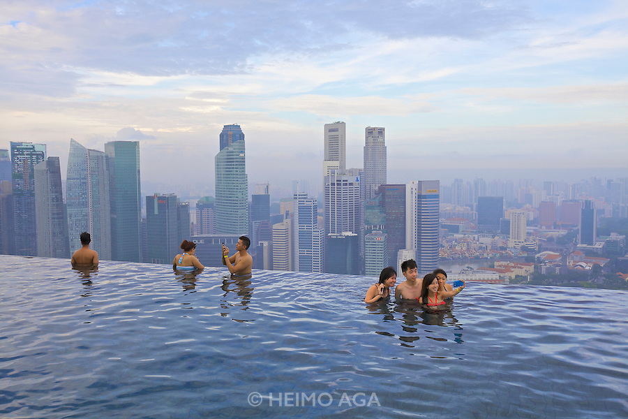 Singapore. Marina Bay Sands Hotel. The Pool offers a breathtaking view over Singapore.