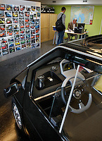 Show room for electric car Kewet Buddy, which is being produced at a factory in Oslo, Norway, by ElBil Norge AS (Ltd.) . Fully charged the car can run for about 80 km on flat terrain. Though considered a car by most people, the vehicle actually has to be registered as a motorcycle.© Fredrik Naumann