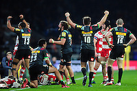 Harlequins players celebrate at the final whistle. Aviva Premiership match, between Harlequins and Gloucester Rugby on December 27, 2016 at Twickenham Stadium in London, England. Photo by: Patrick Khachfe / JMP