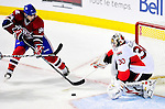 22 March 2010: Montreal Canadiens' center Tom Pyatt is unable to get the puck past Ottawa Senators goaltender Brian Elliott in the second period at the Bell Centre in Montreal, Quebec, Canada. The Senators shut out the Canadiens 2-0 in their last meeting of the regular season. Mandatory Credit: Ed Wolfstein Photo