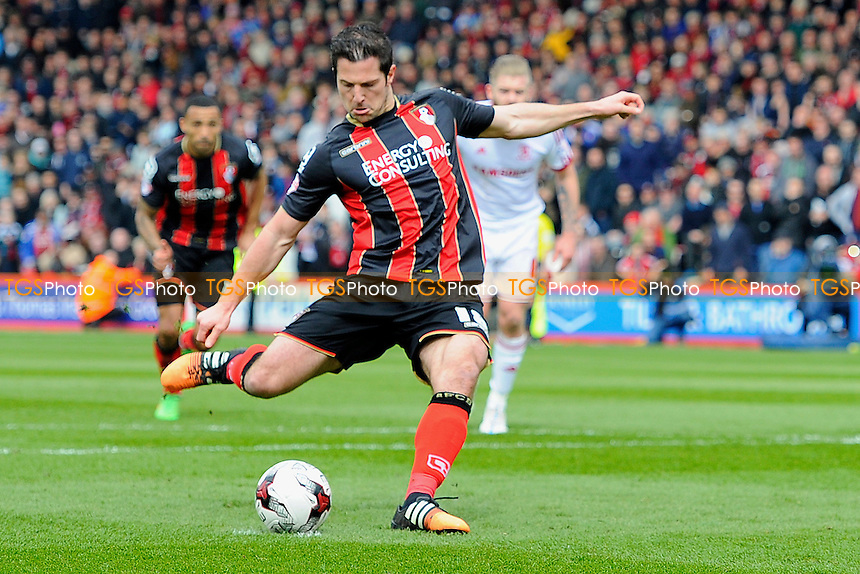 Yann Kermorgant of AFC Bournemouth strikes his penalty to put AFC Bournemouth 1-0 up - AFC Bournemouth vs Middlesbrough - Sky Bet Championship Football at the Goldsands Stadium, Bournemouth, Dorset - 21/03/15 - MANDATORY CREDIT: Denis Murphy/TGSPHOTO - Self billing applies where appropriate - contact@tgsphoto.co.uk - NO UNPAID USE