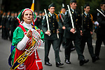 A woman takes part of the Annual Columbus day parade in New York, United States. 08/10/2012. Photo by Eduardo Munoz Alvarez / VIEWpress.