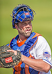 23 February 2013: New York Mets' catcher Landon Powell in action during a Spring Training Game against the Washington Nationals at Tradition Field in Port St. Lucie, Florida. The Mets defeated the Nationals 5-3 in their Grapefruit League Opening Day game. Mandatory Credit: Ed Wolfstein Photo *** RAW (NEF) Image File Available ***