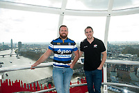 "Henry Thomas of Bath Rugby and Chris Wyles of Saracens pose for a photo on the London Eye. Bath Rugby Photocall for ""The Clash"" on April 3, 2017 at the London Eye in London, England. Photo by: Patrick Khachfe / Onside Images"