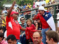 MEDELLIN - COLOMBIA - 07 - 04 - 2017: Hinchas de Chile,  durante partido de la serie final de partidos en el Grupo I de la Zona Americana de la Copa Davis, partidos entre Colombia y Chile, en Country Club Ejecutivos de la ciudad de Medellin. / Fans of Chile, during a match to the final series of matches in Group I of the American Zone Davis Cup, match between Colombia and Chile, at the Country Club Executives in Medellin city. Photo: VizzorImage / Juan C Quintero / Fedetenis / Cont