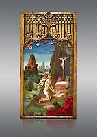 Gothic Catalan Alterpiece of Sant Jeroni Penetant by Mestre de la Seu d'Urgell, circa 1495, tempera and gold leaf on wood, from the church of Santa Maria de Puigcerda, Baixa Cerdanya, Spain.  National Museum of Catalan Art, Barcelona, Spain, inv no: MNAC  15821.