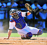 7 March 2010: New York Mets' catcher Omir Santos in action during a Spring Training game against the Washington Nationals at Tradition Field in Port St. Lucie, Florida. The Mets edged out the Nationals 6-5 in Grapefruit League pre-season play. Mandatory Credit: Ed Wolfstein Photo