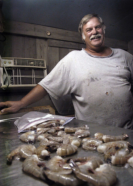 Larry Kellum of Bettie in Carteret County is finding it harder to make a living shrimping the waters in the county and now travels to South Carolina to catch his shrimp, Thursday, October 18, 2007. Beckley New_ShrimpKellum