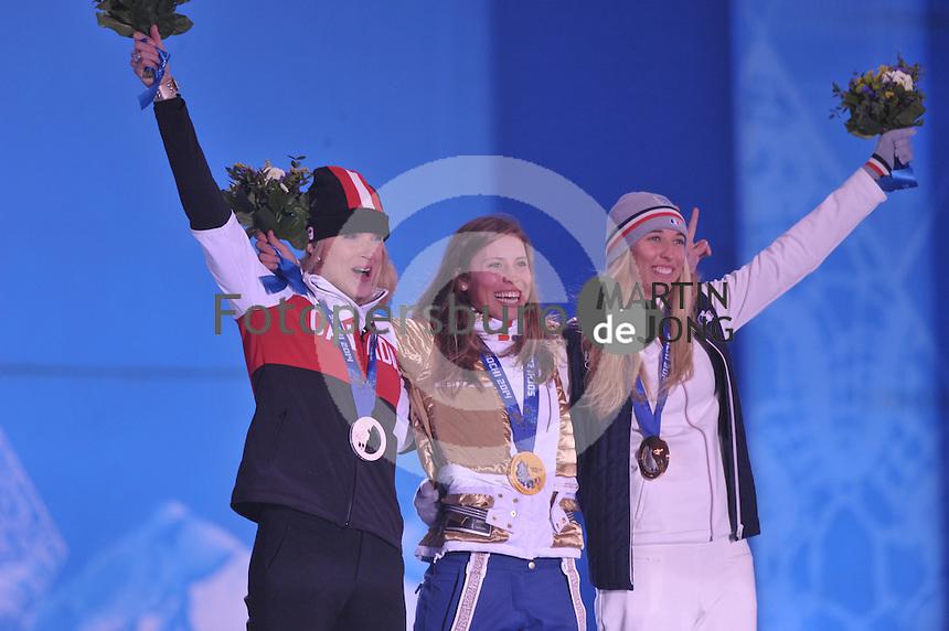 OLYMPICS: SOCHI: Medal Plaza, 16-02-2014, Ladies' Snowboard Cross, Dominique Maltais (CAN), Eva Samkova (CZE), Chloe Trespeuch (FRA), ©photo Martin de Jong