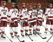 Brendan Rempel (Harvard - 42), Ryan Grimshaw (Harvard - 6), Eric Kroshus (Harvard - 10), Daniel Moriarty (Harvard - 11), Max Everson (Harvard - 44), Peter Starrett (Harvard - 14) - The Harvard University Crimson defeated the visiting Clarkson University Golden Knights 3-2 on Harvard's senior night on Saturday, February 25, 2012, at Bright Hockey Center in Cambridge, Massachusetts.
