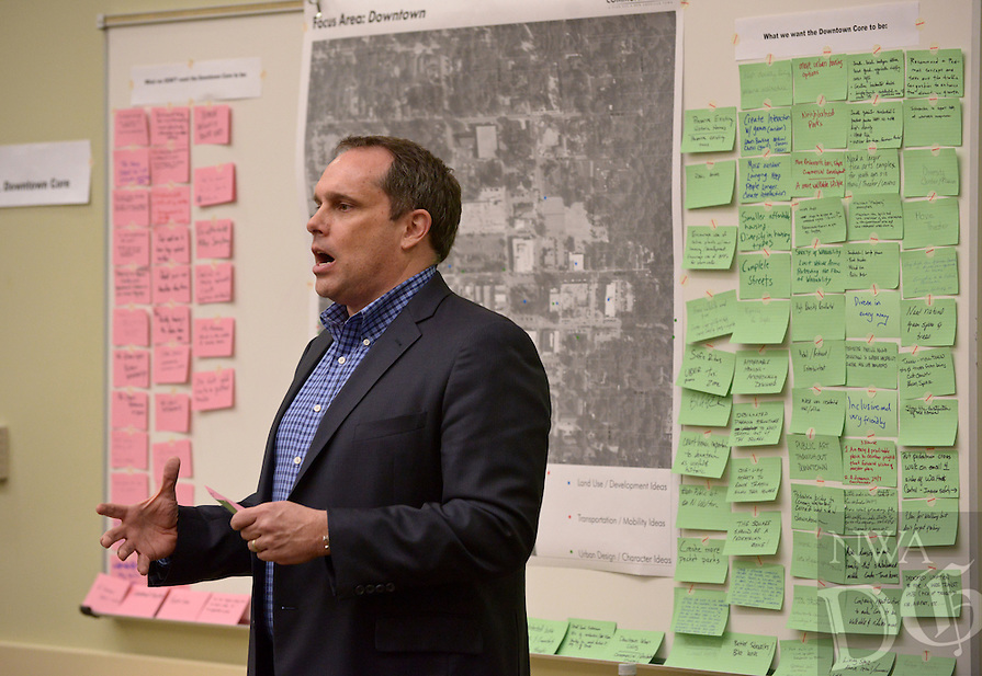 NWA Democrat-Gazette/BEN GOFF @NWABENGOFF<br /> John Houseal with Houseal Lavigne Associates speaks on Thursday, Feb. 18, 2016 during a visioning workshop hosted by Houseal Lavigne Associates at the Bentonville Public Library for the community to learn about and comment on Bentonville Community Plan.