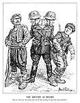 """The Mixture as Before. """"Do as I tell you, my friend, and you'll have nothing to fear from this scoundrel."""" (a German soldier with two heads threatens Turkey and Romania by offering to protect one from the other)"""