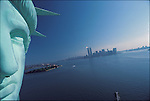 World Trade Center from the Staute of Liberty, Fall 1982..1982 © Peter B. KAPLAN / CONTACT Press Images