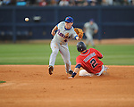 Mississippi's Alex Yarbrough steals second vs. Florida's Nolan Fontana at Oxford-University Stadium on Friday, March 26, 2010 in Oxford, Miss. Ole Miss won 3-2.
