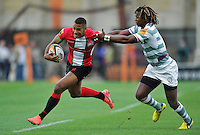 Ashley Smith looks to get past Marland Yarde. J.P. Morgan Premiership Rugby 7s match, between London Irish and London Welsh on August 3, 2012 at the Recreation Ground in Bath, England. Photo by: Patrick Khachfe / Onside Images