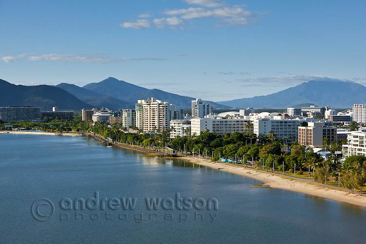 Aerial view along Esplanade to city centre.  Cairns, Queensland, Australia