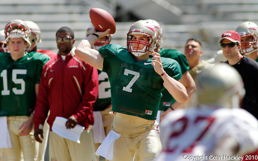 TALLAHASSEE, FL 3/27/10-FSU FB32710 CH-Florida State quarterback Christian Ponder throws during scrimmage Saturday at Doak Campbell Stadium in Tallahassee. .COLIN HACKLEY PHOTO