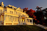 North Carolina, NC, Morning light on Cone Manor House in Moses H. Cone Memorial Park in the fall.