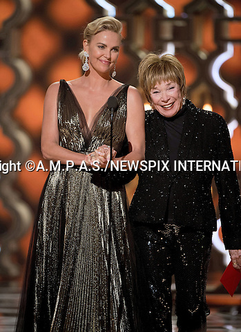 26.02.2017; Hollywood, USA: CHARLIZE THERON  AND SHIRLEY MACLAINE<br /> at The 89th Annual Academy Awards at the Dolby&reg; Theatre in Hollywood.<br /> Mandatory Photo Credit: &copy;AMPAS/NEWSPIX INTERNATIONAL<br /> <br /> IMMEDIATE CONFIRMATION OF USAGE REQUIRED:<br /> Newspix International, 31 Chinnery Hill, Bishop's Stortford, ENGLAND CM23 3PS<br /> Tel:+441279 324672  ; Fax: +441279656877<br /> Mobile:  07775681153<br /> e-mail: info@newspixinternational.co.uk<br /> Usage Implies Acceptance of Our Terms &amp; Conditions<br /> Please refer to usage terms. All Fees Payable To Newspix International