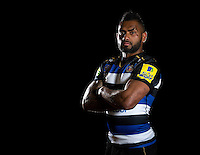 Niko Matawalu of Bath Rugby poses for a portrait in the 2015/16 home kit during a Bath Rugby photocall on December 1, 2015 at Farleigh House in Bath, England. Photo by: Patrick Khachfe / Onside Images