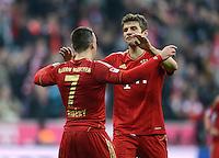 FUSSBALL   1. BUNDESLIGA  SAISON 2012/2013   13. Spieltag FC Bayern Muenchen - Hannover 96     24.11.2012 Jubel nach dem Tor zum 3:0 Franck Ribery und Thomas Mueller (v. li., FC Bayern Muenchen)