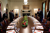 Washington, DC - August 18, 2009 -- United States President Barack Obama and President Hosni Mubarak of Egypt approach the table at the start of a working lunch in the Cabinet Room of the White House, August 18, 2009..Mandatory Credit: Pete Souza - White House via CNP