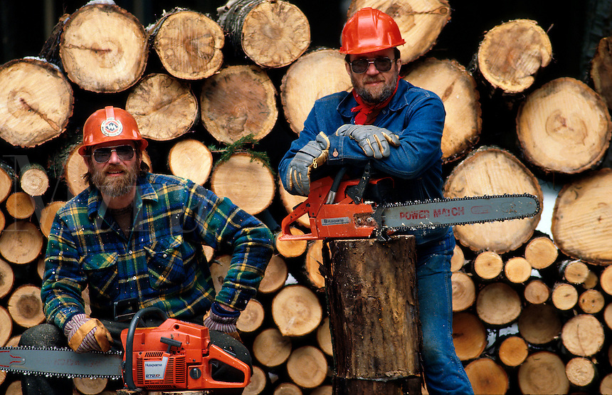 Lumberjack with chain saw.