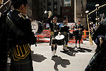 Saturday, April 14,  2007, New York, New York.. The 9th annual Tartan Day Parade was held today on 6th Avenue between 44th and 58th Streets.. Thousands turned out to play the drums, pipes and to view all those dressed for the occasion.. 3rd class Follador of the US Naval Academy Pipes and Drums practices before the start of the parade.
