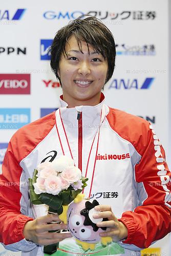 Satomi Suzuki, JUNE 19, 2014 - Swimming : JAPAN OPEN 2014, Women's 100m Breaststroke Medley Medal Ceremony at Tatsumi International Swimming Pool, Tokyo, Japan. (Photo by Yusuke Nakanishi/AFLO SPORT)