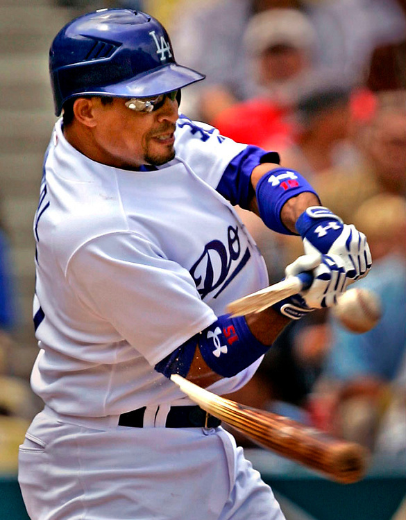Dodger Rafael Furcal breaks his bat as he grounds out to second off a pitch by Arizona Diamondback Doug Davis during third inning at Dodger Stadium in Los Angeles Wednesday May  02, 2007.