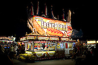 View of a food vendor stand selling French fries, corn dogs, buffalo wings, chicken tender and cheese fries at the North Carolina State Fair in Raleigh, NC, United States, 16 October 2008.