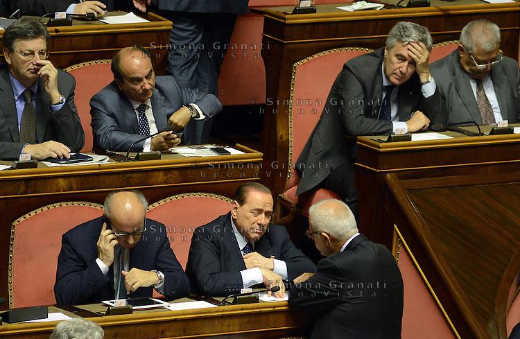 Roma, 2 Ottobre 2013<br /> Senato <br /> Silvio Berlusconi sugli scranni del PDL durante l'intervento del Primo  Ministro Enrico Letta