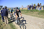The peloton including Elia Viviani (ITA) Team Sky on pave sector 25 Briastre a Solesmes during the 115th edition of the Paris-Roubaix 2017 race running 257km Compiegne to Roubaix, France. 9th April 2017.<br /> Picture: Eoin Clarke | Cyclefile<br /> <br /> <br /> All photos usage must carry mandatory copyright credit (&copy; Cyclefile | Eoin Clarke)