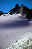 Silvretta Mountains, Ischgl, Austria, July 2004. Climbing Mt Piz Buin over the Vermunt and ochsentaler gletscher. Trekking from hut to hut in the Silvretta is a strenuous adventure, Many high alpine tours are possible, as long as you have experience in crossing glaciers and basic rock climbing. If you don't have experience and you are not afraid of heights most peaks can be climbed with local mountain guides. Photo by Frits Meyst/Adventure4ever.com