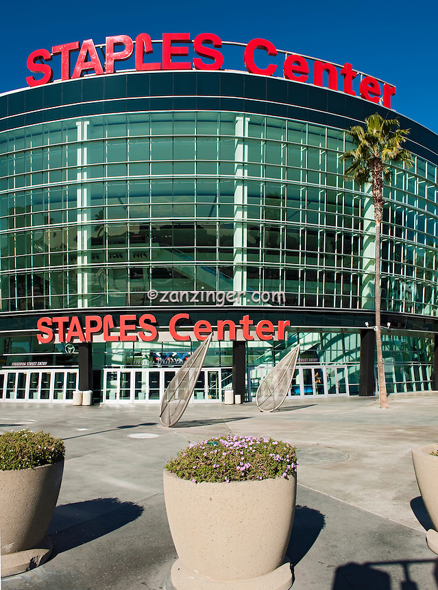 Staples Center Sports Arena, Exterior Glass, Steel, Concrete Building, Vertical