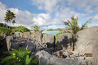 Marae Anini, a stone courtyard with 2 platforms and standing stones, used as a ceremonial and religious site, built for Ta'aroari'i, son of Mahine, king of Huahine, at the end of the 18th century, at Parea, on land belonging to the royal family, on Huahine-Iti, on the island of Huahine, in the Leeward Islands, part of the Society Islands, in French Polynesia. The gods Oro (god of war) and Hiro (deceitful god), were worshipped here, and many human sacrifices were carried out. The ahu or altar consists of small flat stones or ro'i as beds for the gods Oro and Hiro, and upright stones or ofa 'i turui for priests and headmen to lean back on or as memorials for deceased chiefs. Picture by Manuel Cohen