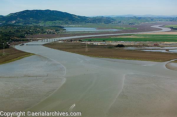 aerial photograph mouth of Petaluma River, Sonoma County, California
