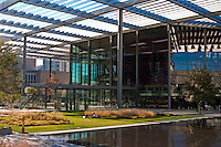The Winspear Opera House with its grand portico solor canopy covering over 3 acres creating a park area below.