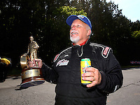 May 19, 2014; Commerce, GA, USA; NHRA pro mod driver Rickie Smith celebrates after winning the Southern Nationals at Atlanta Dragway. Mandatory Credit: Mark J. Rebilas-USA TODAY Sports