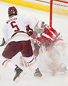 Michael Matheson (BC - 5), Sean Maguire (BU - 31) - The Boston College Eagles defeated the visiting Boston University Terriers 6-4 (EN) on Friday, January 17, 2014, at Kelley Rink in Conte Forum in Chestnut Hill, Massachusetts.
