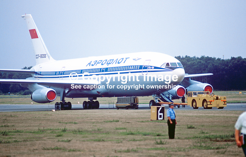 Ilyusin 11-86 wide-bodied Russian-built aircraft in Aeroflot livery at Farnborough Air Show, UK, September, 1984, 19840115ILY<br /> <br /> Copyright Image from Victor Patterson, 54 Dorchester Park, <br /> Belfast, UK, BT9 6RJ<br /> <br /> t1: +44 28 9066 1296 (from Rep of Ireland 048 9066 1296)<br /> t2: +44 28 9002 2446 (from Rep of Ireland 048 9002 2446)<br /> m: +44 7802 353836<br /> <br /> e1: victorpatterson@me.com<br /> e2: victorpatterson@gmail.com<br /> www.victorpatterson.com<br /> <br /> Please see my Terms and Conditions of Use at www.victorpatterson.com. It is IMPORTANT that you familiarise yourself with them.<br /> <br /> Images used on the Internet must be visibly watermarked i.e. &copy; Victor Patterson<br /> within the body of the image and copyright metadata must not be deleted. Images <br /> used on the Internet have a size restriction of 4kbs and will be chargeable at current<br />  NUJ rates unless agreed otherwise.<br /> <br /> This image is only available for the use of the download recipient i.e. television station, newspaper, magazine, book publisher, etc, and must not be passed on to any third <br /> party. It is also downloaded on condition that each and every usage is notified within 7 days to victorpatterson@me.com<br /> <br /> The right of Victor Patterson to be identified as the author is asserted in accordance with The Copyright Designs And Patents Act (1988). m
