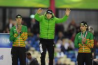 SCHAATSEN: HEERENVEEN: 25-10-2013, IJsstadion Thialf, NK afstanden, podium 5000m, Jorrit Bergsma, Sven Kramer, Bob de Jong, ©foto Martin de Jong