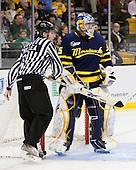 Chris Millea, Joe Cannata (Merrimack - 35) - The Merrimack College Warriors defeated the University of New Hampshire Wildcats 4-1 (EN) in their Hockey East Semi-Final on Friday, March 18, 2011, at TD Garden in Boston, Massachusetts.