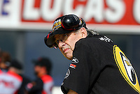 Feb 7, 2014; Pomona, CA, USA; NHRA funny car team owner Jim Dunn during qualifying for the Winternationals at Auto Club Raceway at Pomona. Mandatory Credit: Mark J. Rebilas-