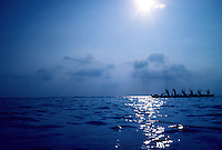 Outrigger canoe offshore, Ala Moana, Honolulu, Hawaii